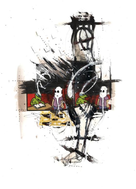 Csaba Pál, Inside game, collage01,29,7x21cm