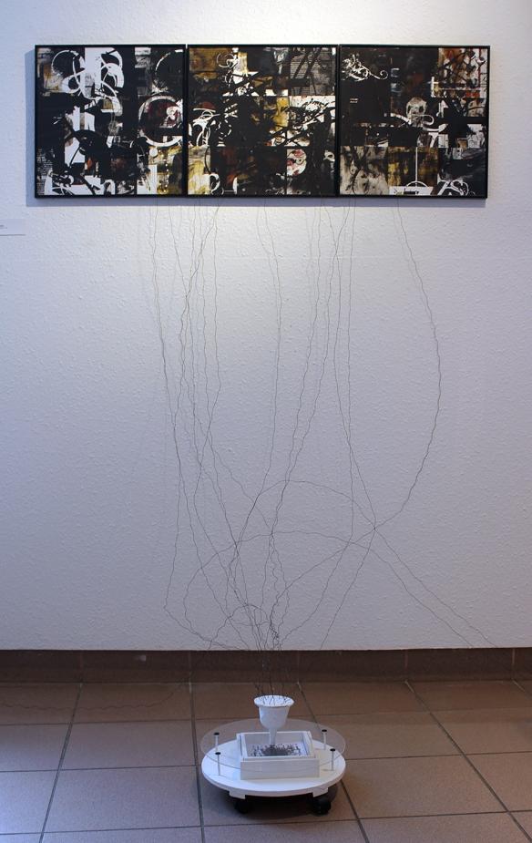 Pál Csaba, Megtisztítás, 120 x 50 x 50 cm, installáció, digitális nyomat, tölcsér,plexi, fa