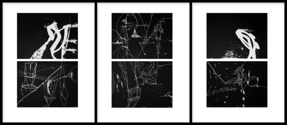 Pál Csaba, Viszony 01,02,03, 70 x 50 cm, digitális nyomat, (fekete papír, fehér festék) 2020